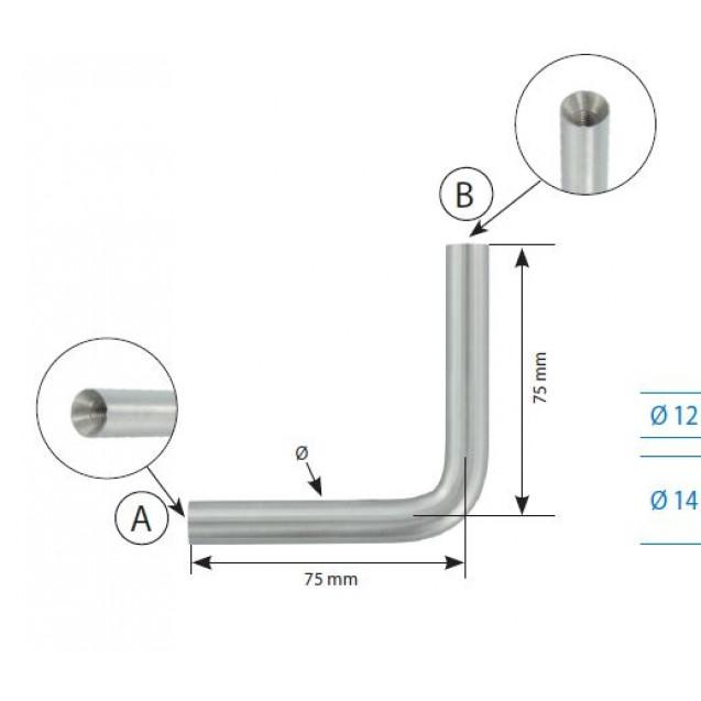Držadlo s 2 vnútornými závitmi 12 mm