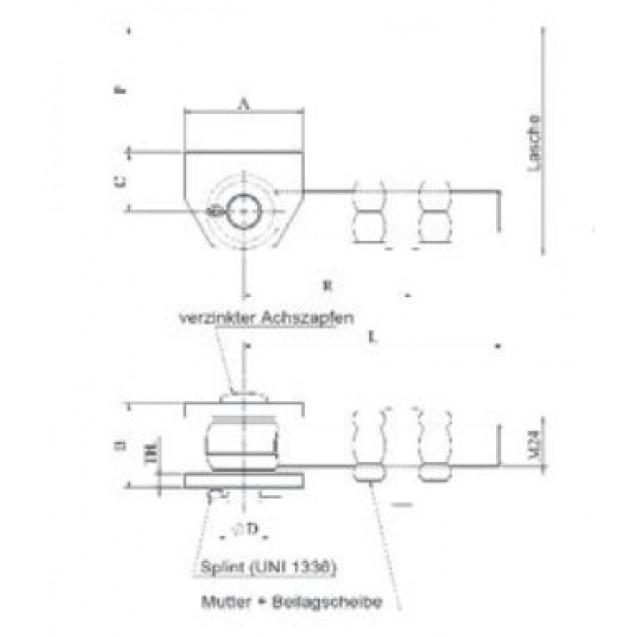 Bránový navárací pánt 180° so závitom M16