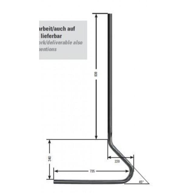 Nerezový stĺp 42.4 x 2.6 mm