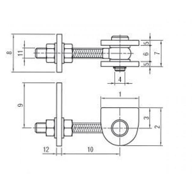 Bránový navárací pánt 180° so závitom M12